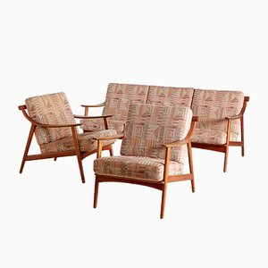 Teak Sofa and Armchairs Set by Arne Hovmand-Olsen for Mogens Kold, 1960s