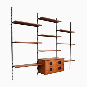 Mueble de pared italiano de nogal y palisandro, años 60