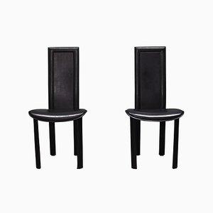 Italienische Modell Elena B Esszimmerstühle mit schwarzem Lederbezug von Quia, 1970er, 2er Set