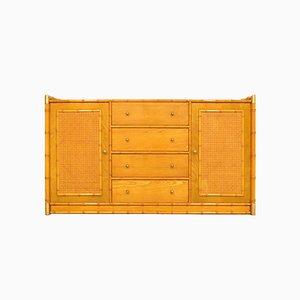 Sideboard aus Rattan & Messing in Bambusoptik, 1970er