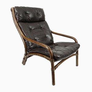 Dänischer Sessel aus Leder & Bambus, 1960er