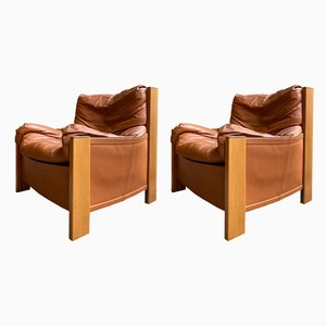 Italian Leather and Wood Model Bergere Lounge Chairs by Tobia & Afra Scarpa for Maxalto, 1970s, Set of 2