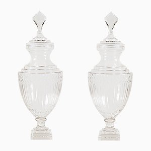 Antique Edwardian Cut Glass Pedestal Urns, Set of 2