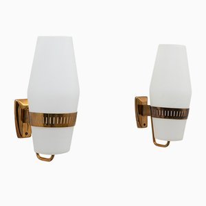 Mid-Century Opaline Glass and Brass Model 2078 Sconces from Stilnovo, Set of 2