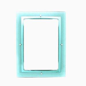 Espejo rectangular de vidrio azul, años 60