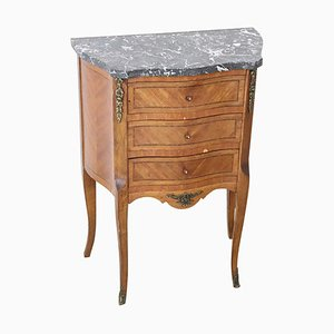 Vintage Inlaid Rosewood and Gray Marble Dresser, 1930s