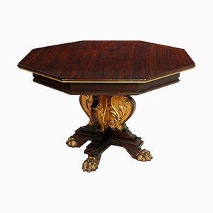 Mesa de comedor octogonal renacentista de nogal ebonizado de Michele Bonciani, años 20