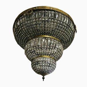 Großer Kronleuchter mit Behang aus Kristallglas, 1970er