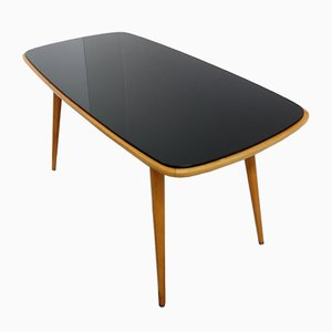 Black Opaxit Glass Coffee Table, 1960s