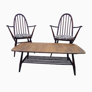Armchairs & Coffee Table from Ercol, 1960s, Set of 3