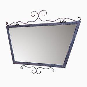 Großer Art Déco Spiegel mit Rahmen aus Schmiedeeisen, 1930er