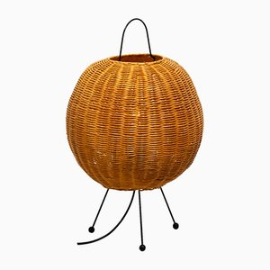 Tripod Table Lamp with Wicker Lampshade, 1960s