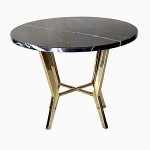 Table Basse Vintage en Marbre Noir et Laiton, années 70