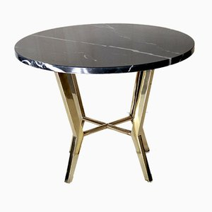 Vintage Black Marble and Brass Coffee Table, 1970s