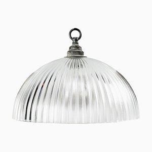 Lampada da soffitto Mid-Century industriale in vetro di Holophane