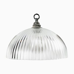 Mid-Century Industrial Glass Ceiling Lamp from Holophane