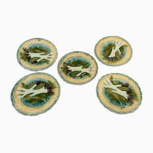 Asparagus Plates from Saint Clément, 1950s, Set of 5