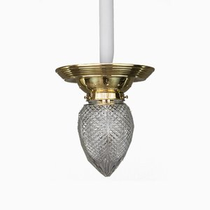 Lampada da soffitto Jugendstil in vetro inciso, 1908