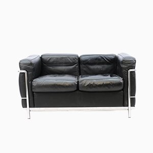 Vintage Black Model LC 2 2-Seater Sofa by Le Corbusier for Cassina