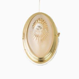 Art Déco Deckenlampe aus geschliffenem Glas & Holz, 1920er