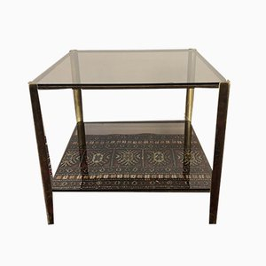 Bronze & Smoked Glass Coffee Table by Jacques Quinet for Maison Broncz, 1960s