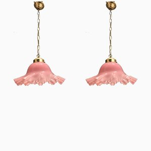 Lampes à Suspension Blossom Rose en Verre de Murano, années 60, Set de 2