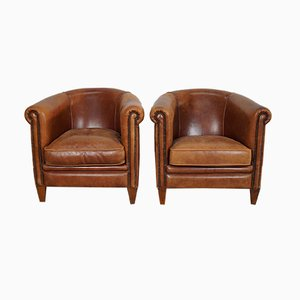 Vintage Dutch Leather Club Chairs, Set of 2