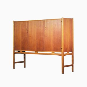 Mahogany, Brass & Beech Cabinet by David Rosén for Nordiska Kompaniet, 1960s