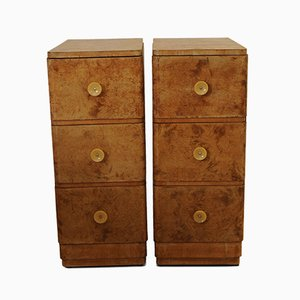 Art Deco Burl Walnut and Bakelite Nightstands, 1930s, Set of 2