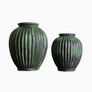 Jarrones escandinavos de cerámica de Michael Andersen, años 40. Juego de 2