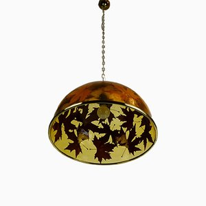 Vintage Acrylic Resin and Brass Pendant Lamp, 1970s