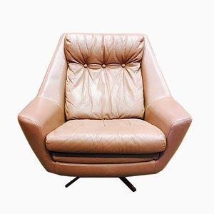 Scandinavian Leather Swivel Lounge Chair, 1950s