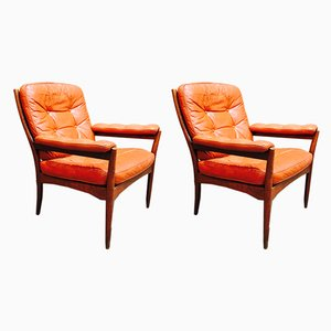Scandinavian Modern Rosewood Lounge Chairs from G-Möbel, 1950s, Set of 2
