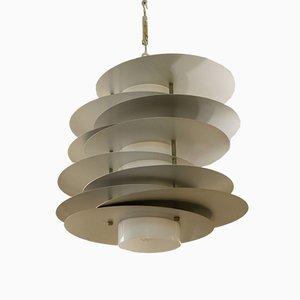 Lámpara de techo de cromo y opalina de Selenova, años 70