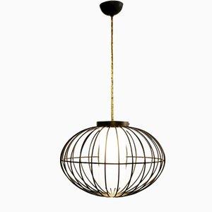 Italienische Deckenlampe aus Opalglas, emailliertem Metall & Messing, 1960er