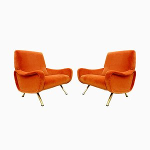 Italian Velvet Armchairs by Marco Zanuso for Arflex, 1950s, Set of 2