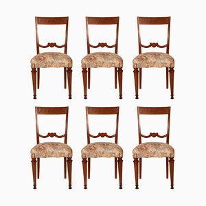Italian Blond Walnut Dining Chairs, 1940s, Set of 6