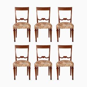 Italian Blond Walnut Dining Chairs, 1940s, Set of 6