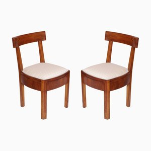 Art Deco Italian Solid Walnut Side Chairs, 1920s, Set of 2