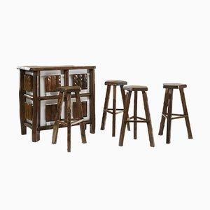 Table de Bar & Tabourets Vintage par Olavi Hänninen pour Mikko Nupponen, Set de 5