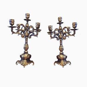 Antique Bronze Candleholders, Set of 2