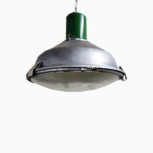 Lámpara colgante industrial de vidrio, años 60