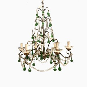 Crystal & Murano Glass Chandelier, 1950s