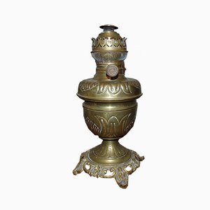 Lámpara de aceite antigua de latón de Lempereur & Bernard