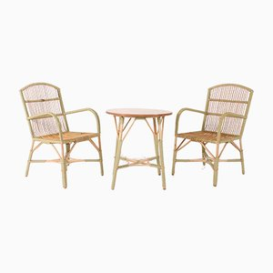 Rattan Living Room Set, 1960s, Set of 3