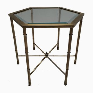 Hexagonal Brass, Glass & Faux Bamboo Side Table by Mastercraft, 1970s