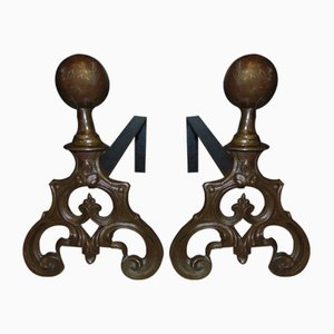 Antique Art Nouveau Brass Andirons, Set of 2