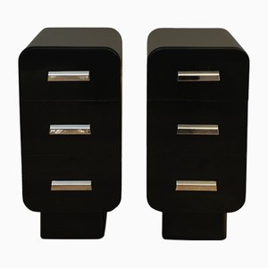 Bauhaus Ebonised Bedside Nightstands with Chrome Handles, 1930s, Set of 2