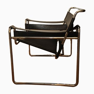 Chrome and Black Leather Model Wassily B3 Armchair by Marcel Breuer for Habitat, 1970s