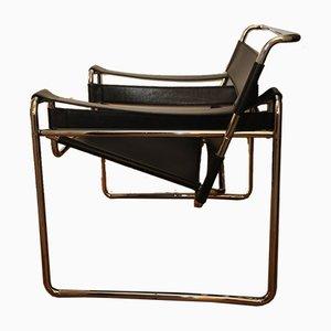 Modell Wassily B3 Armlehnstuhl aus Chrom & schwarzem Leder von Marcel Breuer für Habitat, 1970er